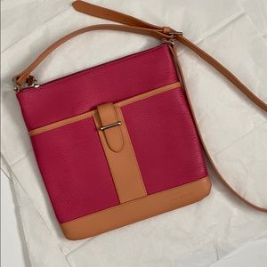 Jack Georges Leather Crossbody! Pink/tan!